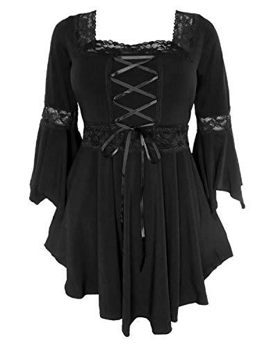 Dare to Wear Renaissance Corset Top: Victorian Gothic Boho Women's Plus Size Peasant Festival Fair Cosplay Lace Blouse, Black 3X