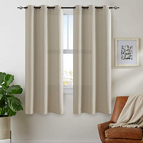JINCHAN Linen Fabric Curtain Room Darkening Window Treatment for Bedroom 54 Inch Long Thermal Insulated Living Room Curtain Greyish Beige 1 Panel