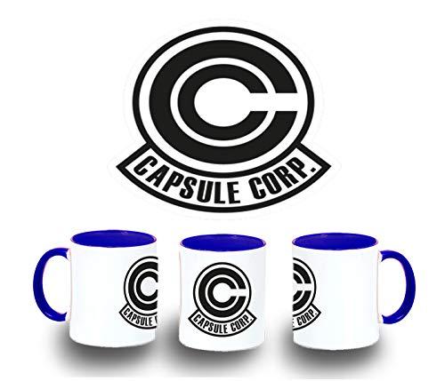 MERCHANDMANIA Taza Azul Logo Capsule Corp Dragon Ball Color mug