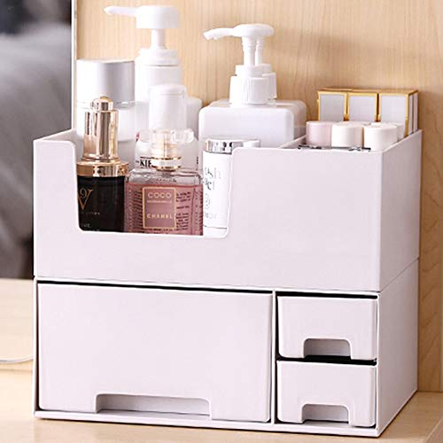 Kcakek Plastic Desktop afwerking box Cosmetic Lade Met Witte Lade Grijs Cosmetica en Skincare Planken cosmetische afwerking kabinet Cosmetische Storage Box Jewelry Ring Storage Box (Color : Gray)