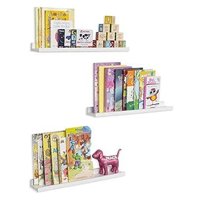 Wallniture Denver Wall Mounted Floating Shelves for Nursery Decor - Kid's Room Bookshelf Display - Picture Ledge White 22 Inch Set of 3