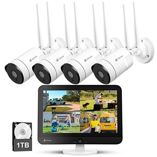 """[8CH Expandable] Kittyhok All in One 2K Wireless Security Camera System with 12"""" HD Monitor, 4Pcs 3MP IP Surveillance Camera with 2 Way Audio, Remote View, 24/7 Recording, 1TB HDD Home Security Systems"""