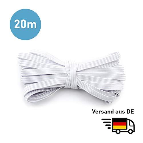 MAGATI Gummiband - elastische Flache kochfeste Gummilitze zum Nähen, Basteln von DIY Community-Masken, Behelfsmasken, Mund-Nasenbedeckungen (Weiß, 20m x 5mm)