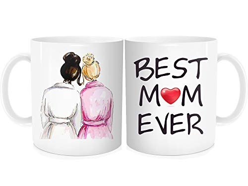 Funny Coffee Mug For Mother Women - Best Mom Ever, Brown and Blond Hair Color - Mother's Day Birthday Christmas Cup for Her From Daughter - White Fine Bone China Ceramic 11 oz