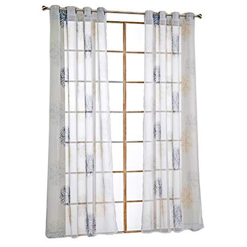 SIMPVALE 1 Stuk Print Tule Gordijn - Oogje Voile Deur Gordijnen - lange raambekleding voor slaapkamer, balkon en woonkamer