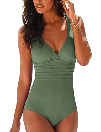 Hilor Women's One Piece Swimsuit Tummy Control Bathing Suits V Neck Swimwear Criss Cross Back Army Green 14