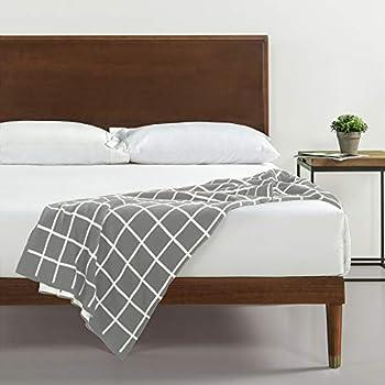 Zinus Deluxe Mid-Century Wood Platform Bed with Adjustable height Headboard no Box Spring needed Twin