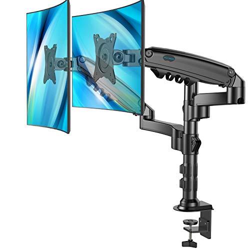 HUANUO モニターアーム デュアル ディスプレイアーム 2画面 ガス式 17-32型対応 耐荷重2-9kg クランプ式 VE...