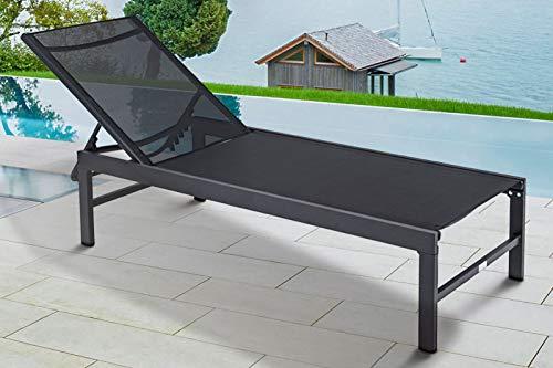 OUTFLEXX Liege, anthrazit matt/schwarz, Alu/Textilene, 190x62x34cm, Rückenlehne verstellbar