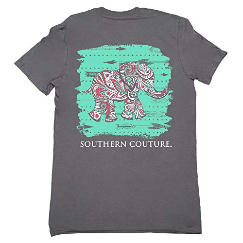 Southern Couture Classic Collection Paisley Elephant Short Sleeve Womens Classic Fit T-Shirt; Charcoal, Small