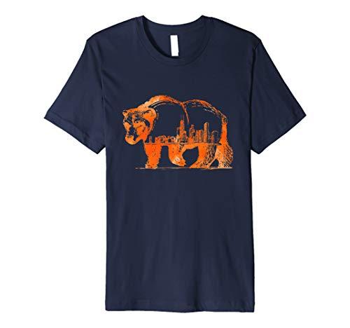 Downtown Chicago City Skyline Walking Bear Silhouette Gift Premium T-Shirt