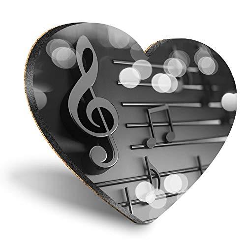 Posavasos con forma de corazón de MDF, con notas musicales, para profesores de música | Posavasos de calidad brillante | Protección de mesa para cualquier tipo de mesa #37404