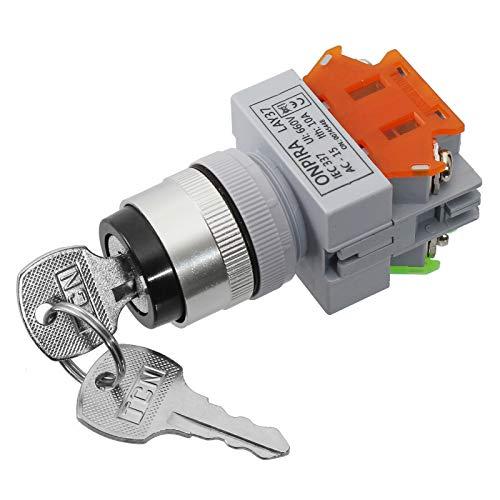 Schlüsselschalter 2 Positionen Sicherheits Sperrschalter inkl. 2x Schlüssel Einbauloch: Ø22mm