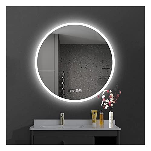 SAKLHDOQ Moderno Espejo de baño Redondo ∅50/60/70/80cm Espejo led - Interruptor Táctil - Función Anti-Niebla - Reloj Digital - Espejo de Pared - Espejo con iluminación