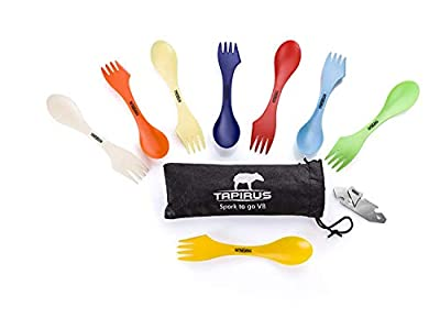 Tapirus Spork to Go V8 Set - 8 Colorful Durable and BPA Free Sporks - Spoon, Fork and Knife Combo Utensils Flatware Mess Kit for Camping and Outdoor Activities - with Bottle Opener and Carrying Case