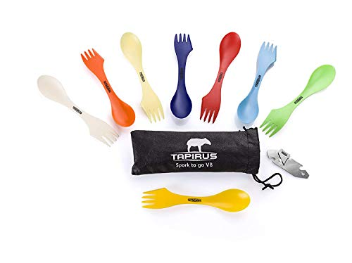 Tapirus Spork to Go V8 Set  8 Colorful Durable and BPA Free Sporks  Spoon Fork and Knife Combo Utensils Flatware Mess Kit for Camping and Outdoor Activities  with Bottle Opener and Carrying Case