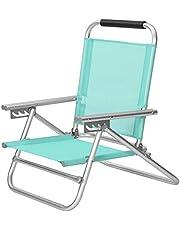 SONGMICS Silla de Playa, Silla de Exterior portátil, con Respaldo reclinable en 4 Posiciones, Plegable con reposabrazos, Tela cómoda, Silla para Exteriores