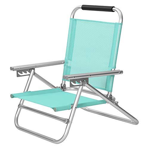 SONGMICS Strandstuhl, tragbarer Klappstuhl, Rückenlehne 4-stufig verstellbar, mit Armlehnen, atmungsaktiv und komfortabel, Outdoor-Stuhl, grün GCB065C01