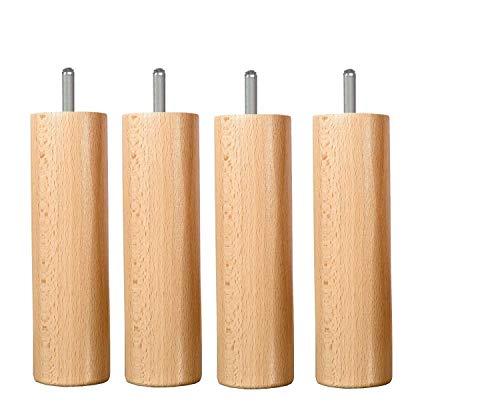 Wood Select lot 4 Pieds Bois 20 cm Vernis Naturel (Tige Lisse 10 mm 4 cm)