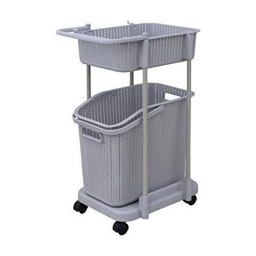 WEIMALL ランドリーバスケット スリム 2段 キャスター付き 洗濯かご ランドリーラック 組立式 浴室 洗濯 収納 (グレー)