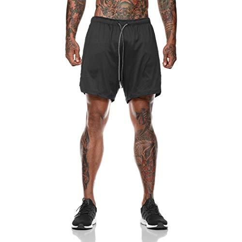 Toyis, pantaloncini da uomo ad asciugatura rapida, traspiranti, leggeri, da corsa, palestra, con tasche con cerniera Nero  XXL