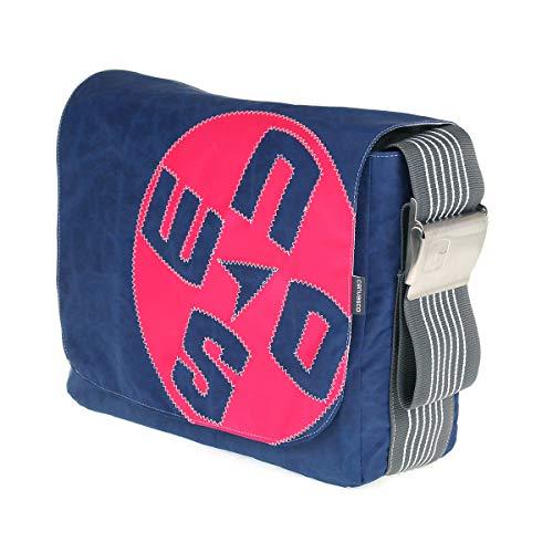 Segeltuchtasche CANVASCO Urban L/Tasche blau/Gurt grau-weiß/Motiv Kompass pink
