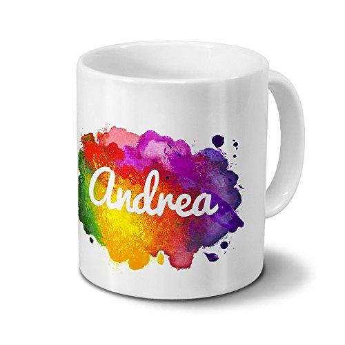 Tasse mit Namen Andrea - Motiv Color Paint - Namenstasse, Kaffeebecher, Mug, Becher, Kaffeetasse - Farbe Weiß