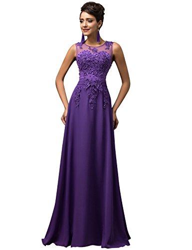 GRACE KARIN Vestidos Púrpuras Elegante para Boda Cuello Barco V Espalda Talla 34