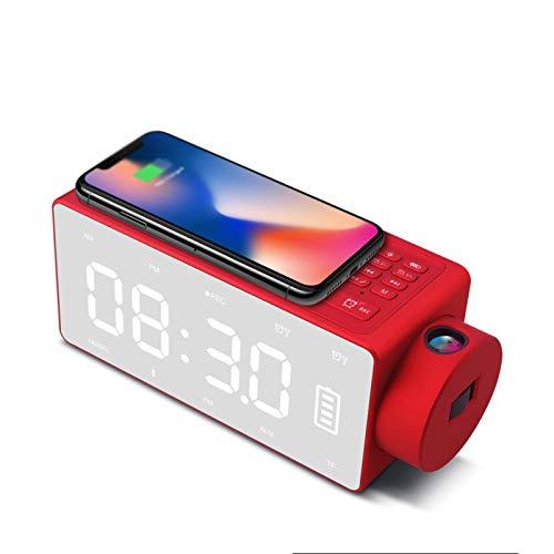 Altavoz Bluetooth, Función De Proyección De Reloj DIY Altavoz De Tono De Llamada Personalizado Bluetooth 4.2 Chip Compatible con Altavoz De Llamada Bluetooth,Rojo