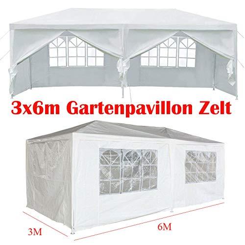 Huini Pavillon 3x6m Wasserdicht mit 6 Seitenwänden Einfache Installation Festival Sonnenschutz Zelt Ideal für Garten, Terrasse, Grillpartys - Weiß