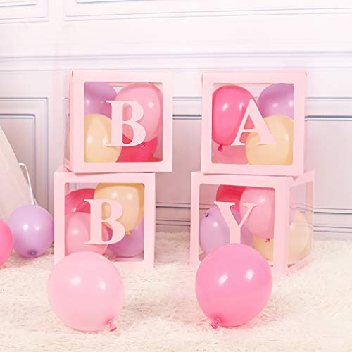 Fowecelt Baby Shower Boxes Party Decorations, 4pcs Transparent Balloons Boxes with 8 Letters, Individual Baby Blocks Design for Girls Gender Reveal Backdrop, First Birthday Decor(Pink)