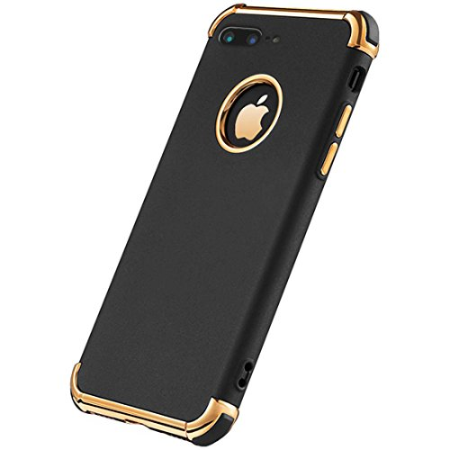 iPhone 8 Plus Case, Ultra Slim Flexible iPhone 8 Plus Matte Case, Styles 3 in 1 Electroplated Shockproof Luxury Cover Case for iPhone 8 Plus (Black)