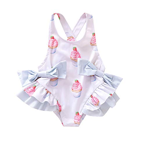 Kids Toddler Baby Girl Swimsuit Halter Sleeveless Cupcake Ruffle Bowknot One Piece Backless Onesie Bathing Suit Clothes Outfit (White, 3-4 Years)
