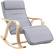 SONGMICS Solid Wood Rocking Chair Footrest with 5 Adjustable Heights Holds up to 150 kg Light Grey LYY41G
