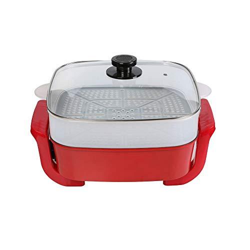 RMXMY Control de AdjustableTemperature Wok eléctrico multifunción Barbacoa Fried Antiadherente Caliente eléctrica Cocinar el arroz Cocina la Sartén Eléctrica, 10L, 1500W, Rojo