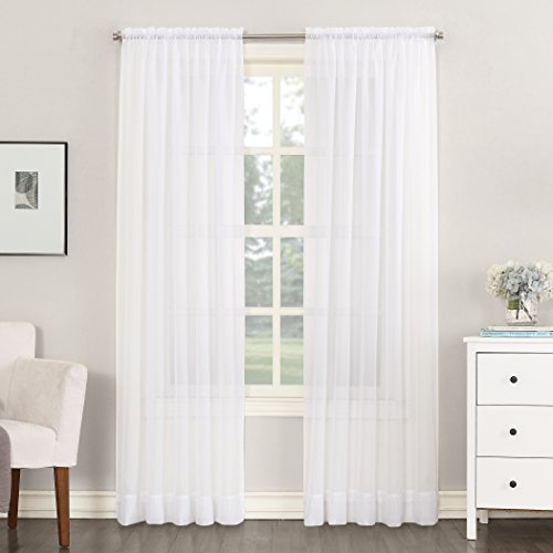 No. 918 Emily Sheer Voile Single Curtain Panel, 59 x 108 Inch, White