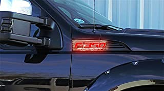 Illuminated Emblems LED for Ford F350 Emblems, 2-Piece Kit Includes Driver & Passenger Side Fender Emblems in Black Case - F350 in Red Illumination