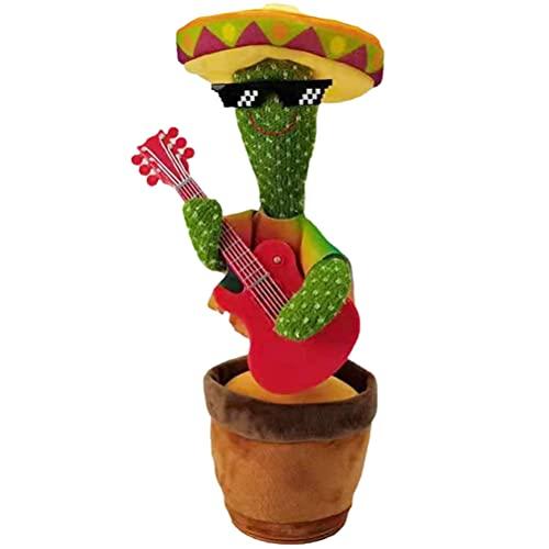 RUSTOO Cactus bailarín de Peluche, vibración electrónica, Divertido Canto y Baile de Cactus, Juguete de Peluche de Cactus para niños, niños pequeños, Juguete para bebés (3 Canciones en inglés)
