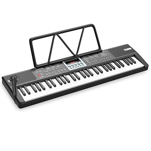 LAGRIMA LAG-710 Beginner 61 Key Portable Electric Keyboard Piano with Built In Speakers, Digital Display Screen, Microphone, Dual Power Supply, Music Sheet Stand for Beginner, Black