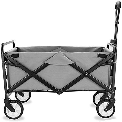 Home Equipment Storage Multifunction Portable Hand Trucks Folding Wagon Capacity 60Kg Portable Garden Cart with 4 Wheels and Steel Brakes Trolley Foldable Pull Wagon Hand Transport Cart Collapsible