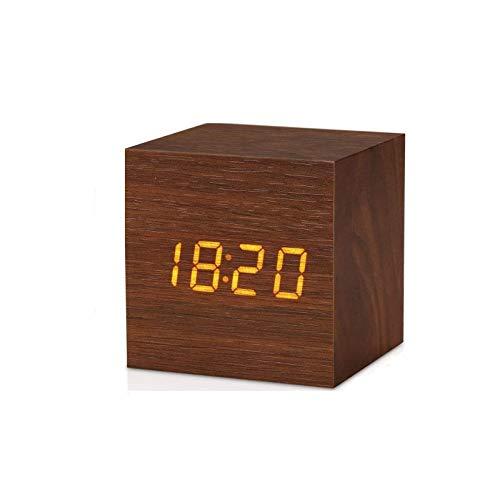Reloj de Madera Digital Creativo Cuadrado LED Mini Reloj Despertador electrónico, hogar Inteligente Activado por Voz, Reloj Despertador Digital