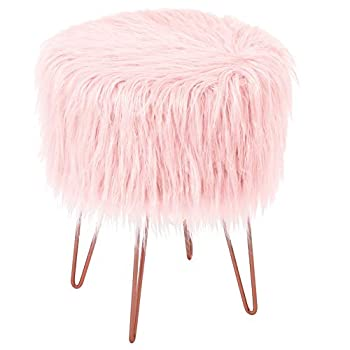 BirdRock Home Pink Faux Fur Vanity Stool Chair – Soft Furry Compact Padded Seat - Vanity Living Room Bedroom and Kids Room Chairs – Hair Pin Metal Legs Upholstered Decorative Furniture Foot Rest