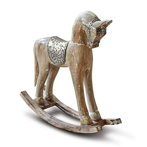 Loberon Deko-Pferd Wayne, Mangoholz/Beschläge: Aluminium, H/B/T ca. 40/38 / 12 cm, antikbraun