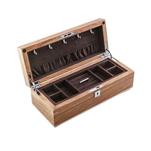 KHUY Organizador de joyas para hombre y mujer, caja de almacenamiento de joyería de doble capa, multifuncional, pendientes, collares, caja de reloj de madera maciza con cerradura (color marrón oscuro)