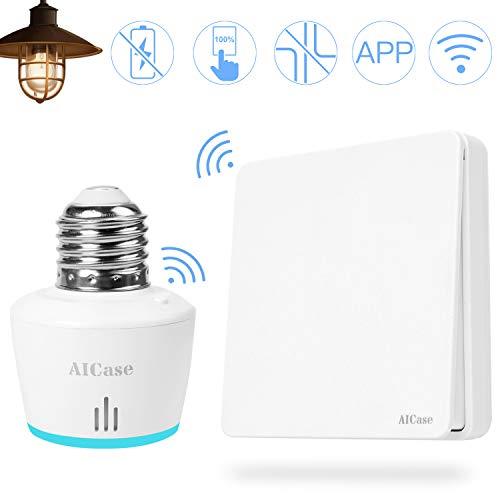 AICase Smart WiFi Lampenfassung Mit FunkSchalter E27 Smart Glühbirnenfassung Glühbirne Steckdose Adapter,für LED, Halogen, Glühbirnen und Energiesparlampen Kompatibel mit Amazon Alexa und Google Home