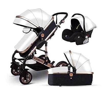 Generic Brands Golden Baby Stroller High Landscape Baby Carrito de Cuero 3 en 1 Cochecito con Asiento de Coche 2 en 1 Cochecito de bebé CE Safety Babyfond