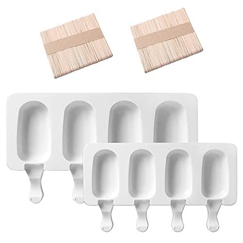 LUKIUP Molde de Helado de Silicona,Juego de Moldes para Polos,Mini Moldes de Congelador para Hacer Helados Pequeños en El Congelador(2 Molde Varios Tamaños + 100 Palos de Madera)