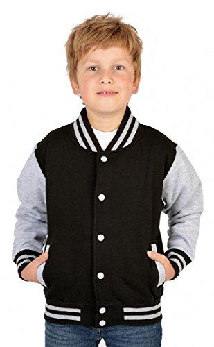 Goodman Design ® USA Jungen Collegejacke in schwarz - Weißer Tiger Wildkatze - Kinder Schul Jacke mit Motiv Dschungel - Geschenk, Kinder Größe:XS / 104