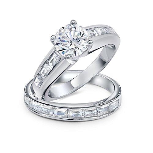 Bling Jewelry Libra Plata Esterlina 1,5 CT CZ Baguette Canal Anillo de Compromiso y Boda Juego de Anillos