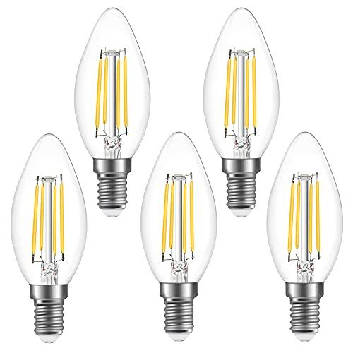 Klarlight Bombilla LED de 4 W E14, regulable, blanco cálido, 2700 K, vintage, rosca Edison pequeña, bombilla de vela LED equivalente de 40 W para dormitorio, salón, cocina (5 unidades)
